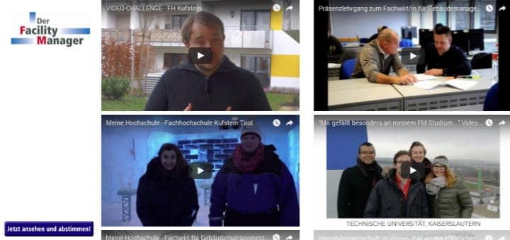 Fünf Beiträge bewerben sich bei der Video Challenge des Magazins Der Facility Manager