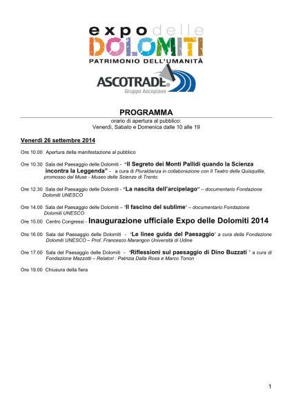 Expo Dolomiti 26 settembre