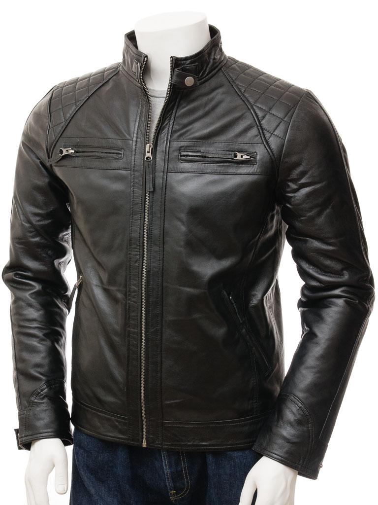 Men s black biker leather jacket sibiu front