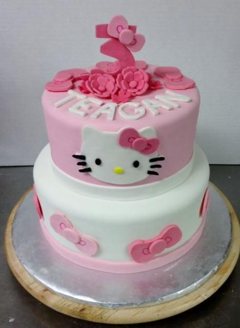 Girl Baby Shower Wallpaper Cute 2 Tier Hello Kitty Birthday Cake With Pink 3 On Top