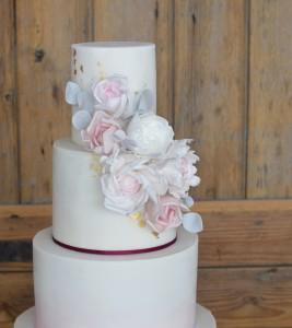 Blush and burgundy cake