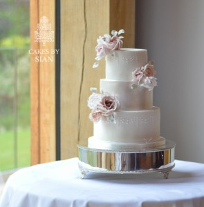 Mauve and blush wedding cake