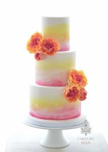 Sunset Watercolour Wedding Cake