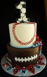 Soccer cake, baseball cake, football cake