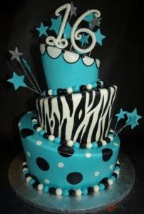 Zebra Topsy Turvy Cake, Sweet 16 Topsy Turvy