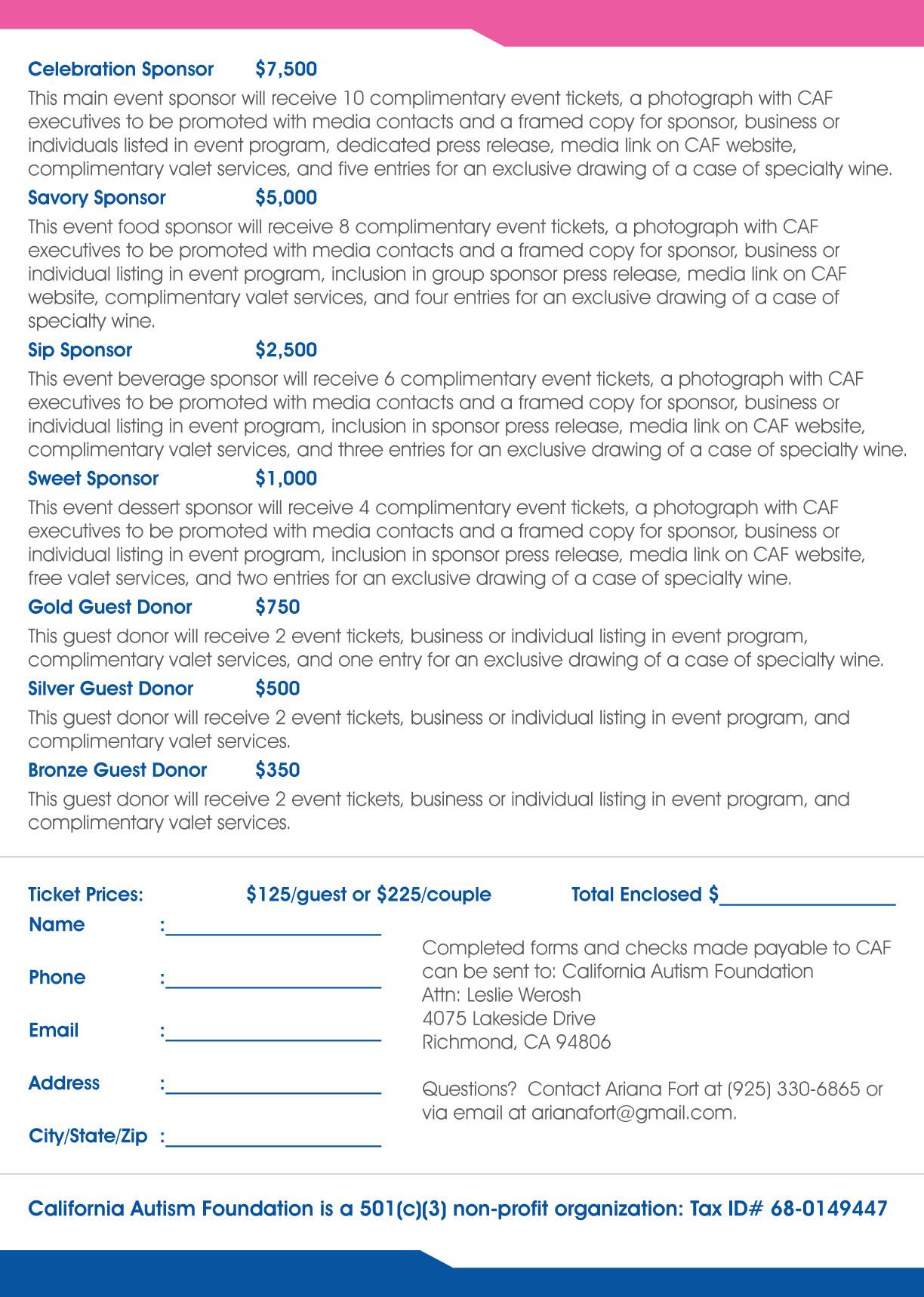 Sample Event Sponsorship Letter Sample Templates News 171; California Autism Foundation