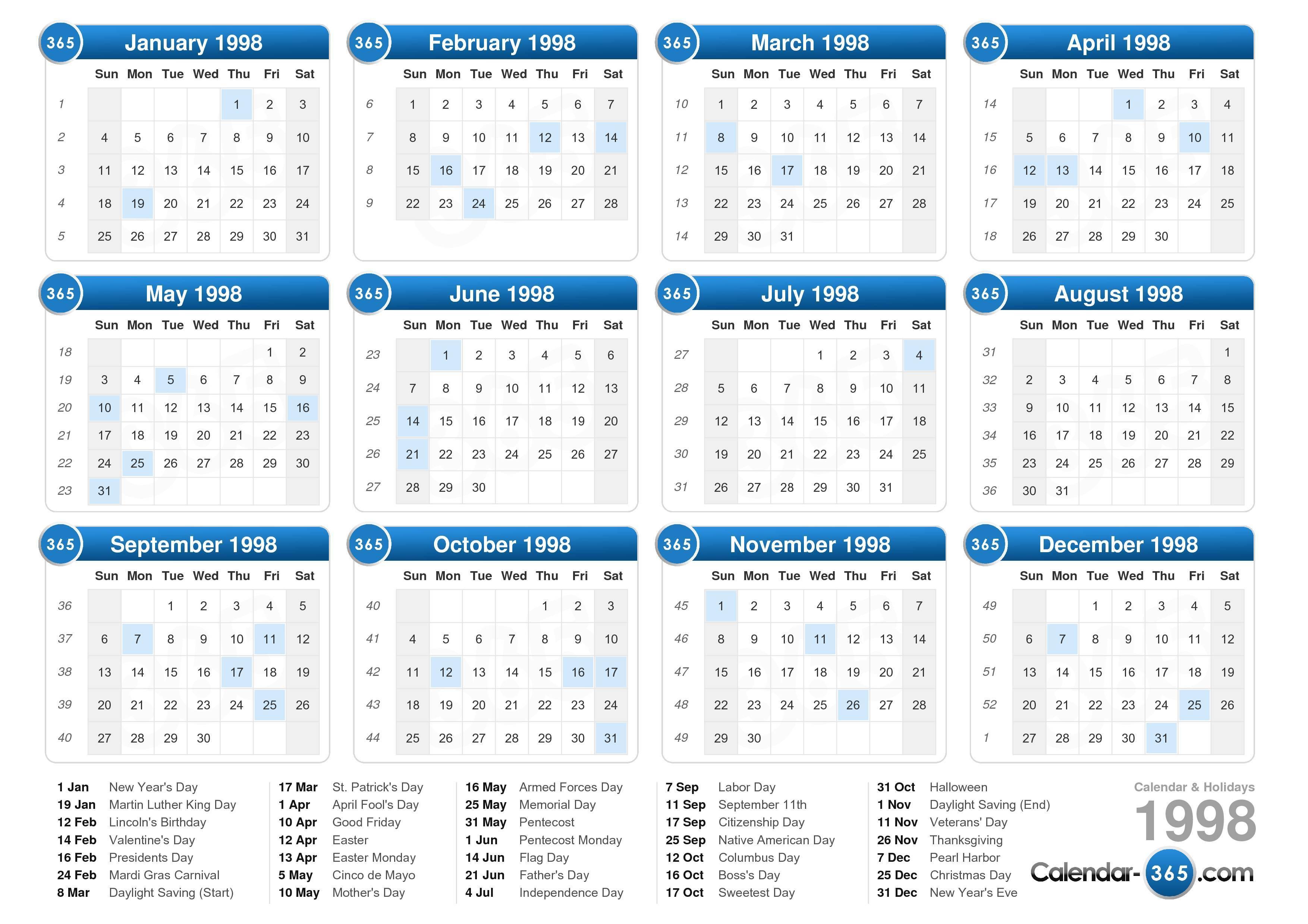Calendar Day Legal Master Calendar 1998 Calendar