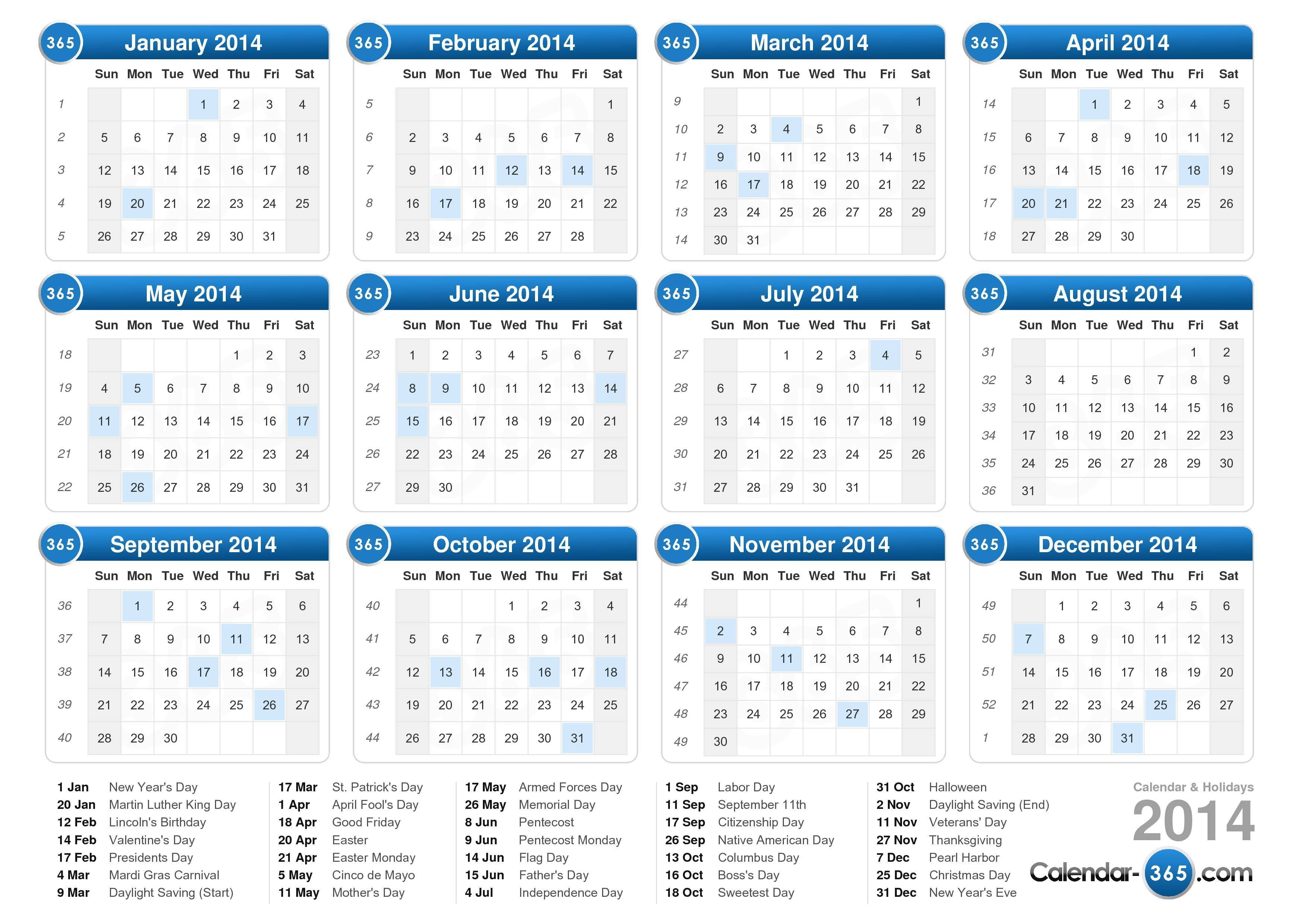 Home Broadcastasia2018 Free Printable Calendar 2014 With Holidays Www
