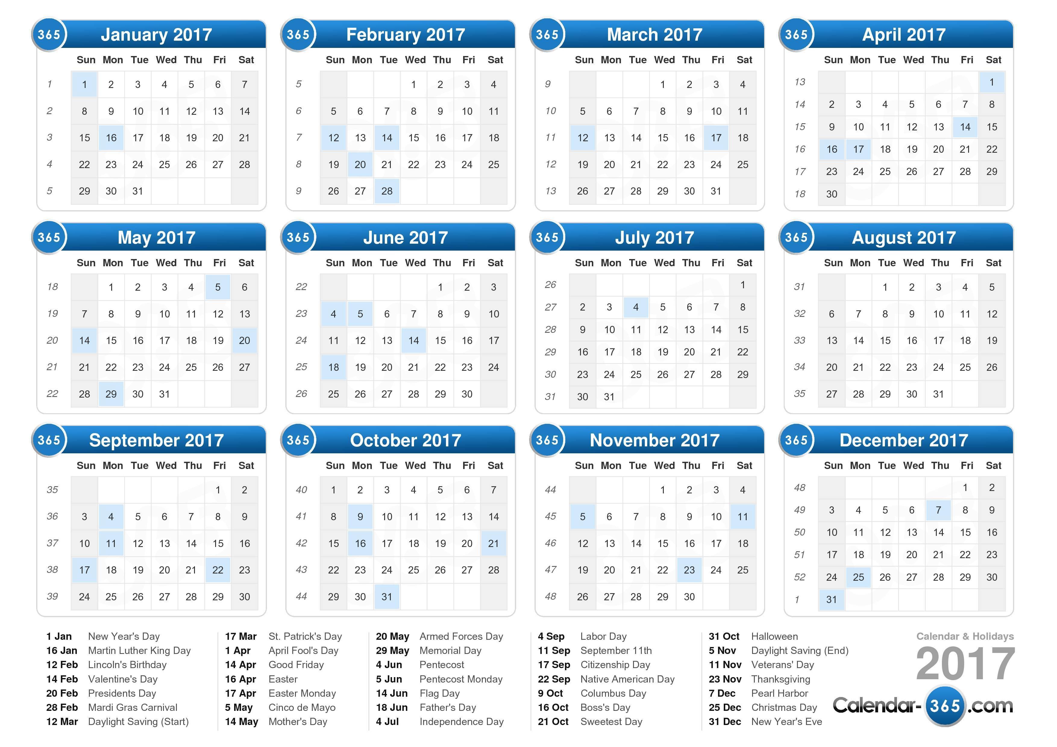 Calendar 2017 Nederland