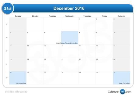 December Dates 2016