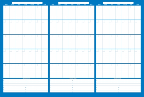 LARGE 3 months at a glance Erasable Wall Calendar with Dry Erase