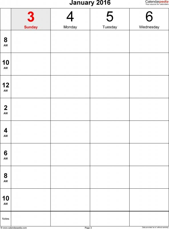 One Week Calendar -Free Calendar Template - one week calendar template word