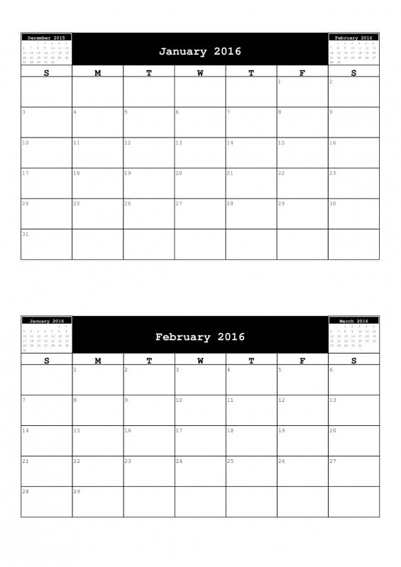 2016 Calendar 16 Free Printable Word Calendar Templates 2 Month Per Page Calendar Free Calendar Template