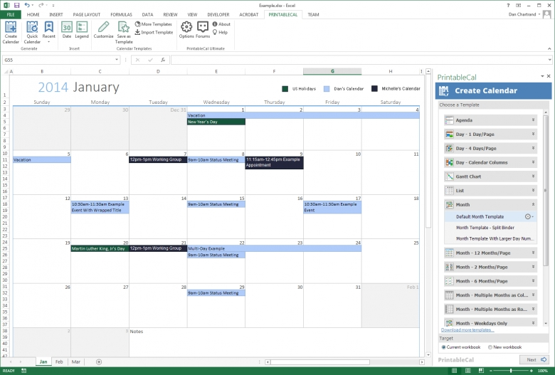 Generate A Calendar In Excel Dhxsoft The Staff Leave Calendar A Simple Excel Planner Monthly Task Calendar Template Free Calendar Template