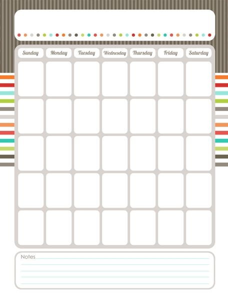 Calendar Blank Fillable Free -Free Calendar Template