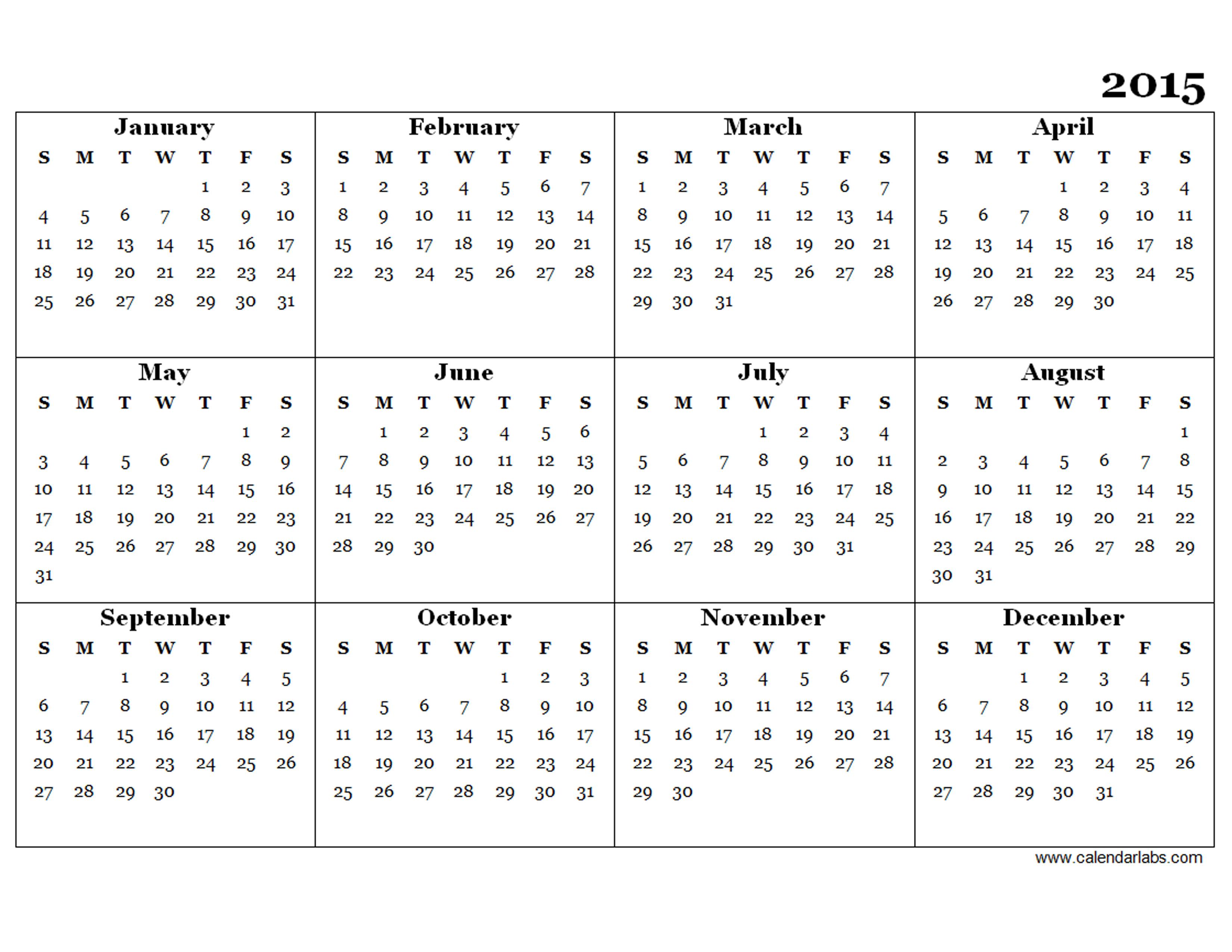 print year calendar 2015