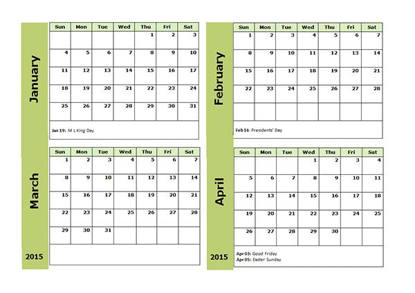 2015 and 2019 calendar printable word