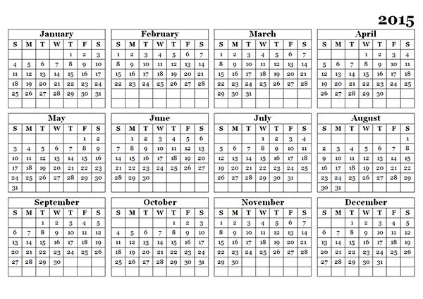 2015 and 2019 calendar printable with holidays