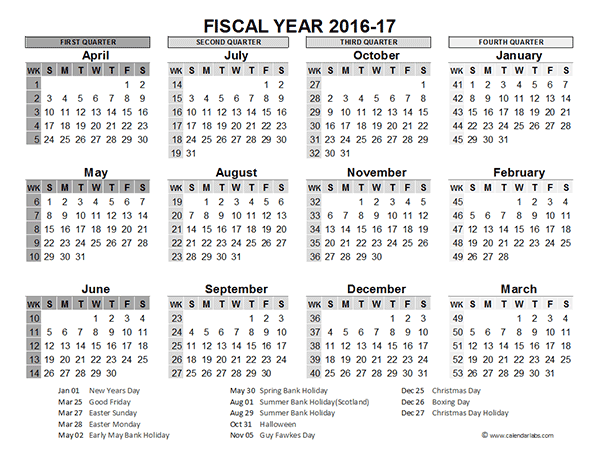 Calendar For Year 2018 United States Time And Date 2016 Fiscal Year Calendar Uk 02 Free Printable Templates