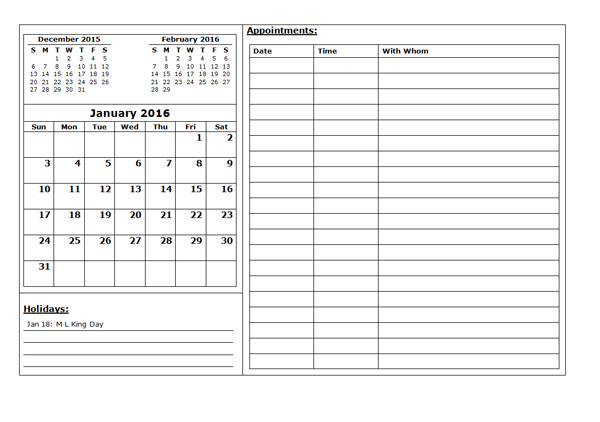 2016 Three Month Appointment Calendar Template - Free Printable