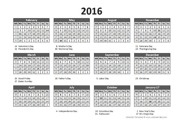 Accounting Calendar Template Free Printable 2017 2016 Accounting Calendar 5 4 4 Free Printable Templates