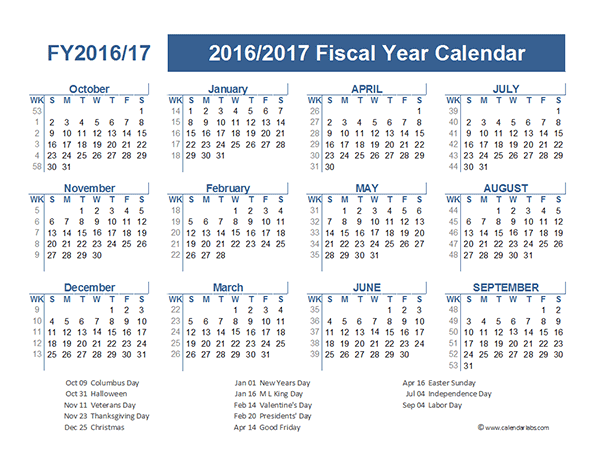 Fiscal Calendar Template. multi year calendars 2 and 3 year ...