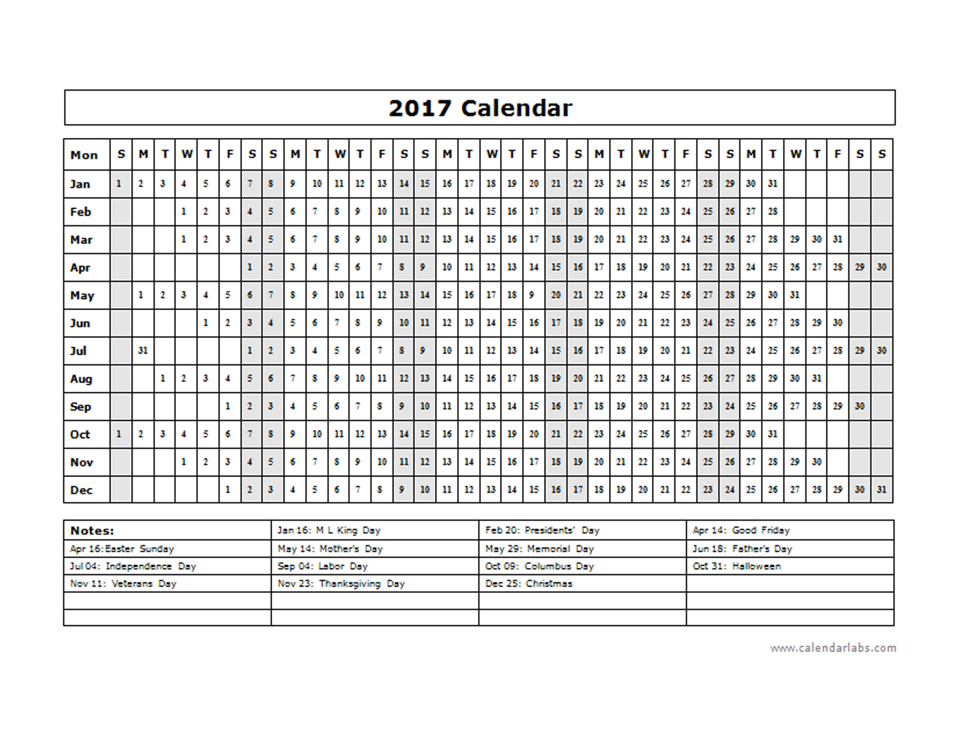 Creating A Perpetual Julian Calendar In Excel Geekswithblogs 2017 Calendar Template Year At A Glance Free Printable