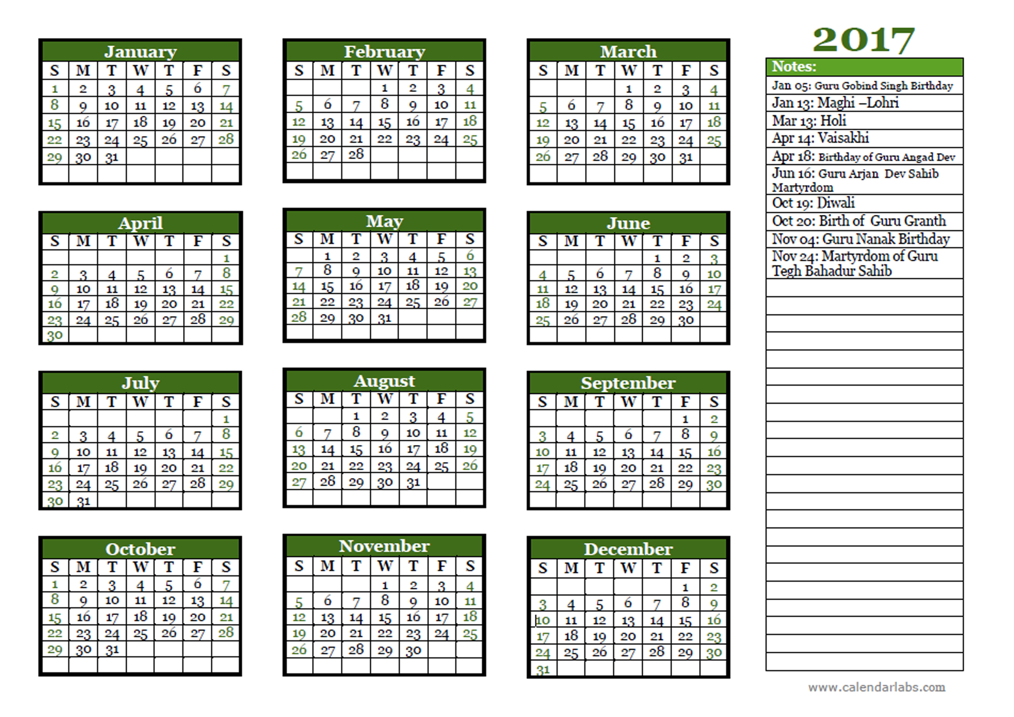 2017 Calendar Quotes Free