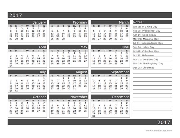 12 month planner 2019