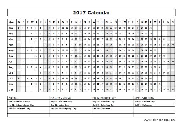 calendar template year at a glance