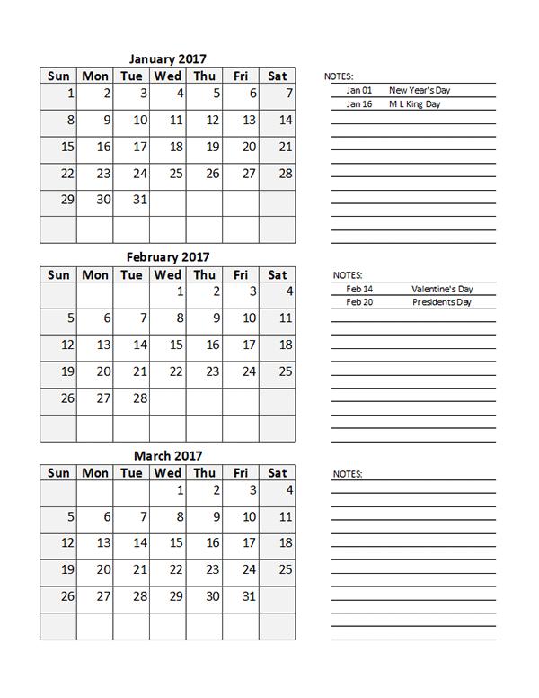 2017 Calendar Google Sheets