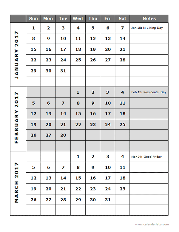 Custom Quarterly Calendar Add Or Delete Holidays And Custom Events In Your Calendar 2017 Quarterly Calendar Template 14p Free Printable