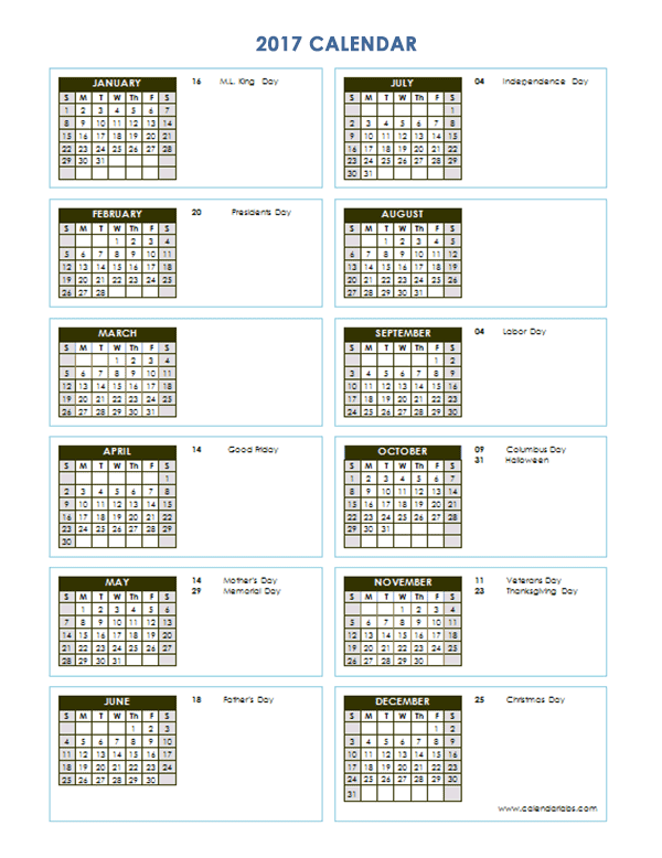Annual Calendar Maker Calendar For Year 2018 United States Time And Date 2017 Yearly Calendar Template Vertical 03 Free Printable