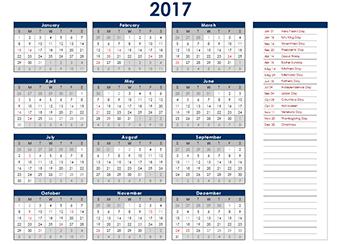 2017 Calendar Canada Stat
