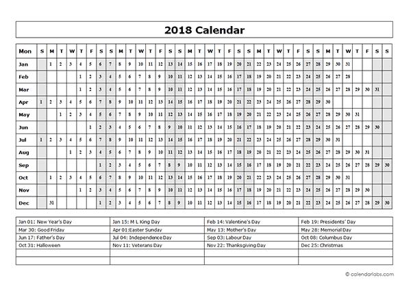 Weekly Calendar Grid Markets Off The Grid 2018 Calendar At A Glance – 2018 Calendar Printable