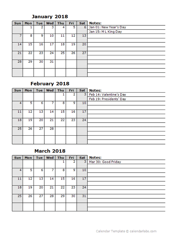 calendar template 3 months per page
