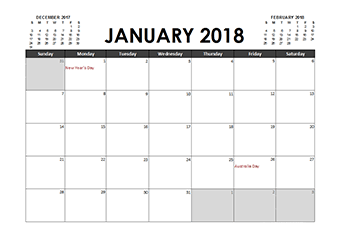 free printable 2018 calendar templates with australia holidays