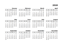 Make A Yearly Calendar Calendar For Year 2018 United States Time And Date 2018 Calendar Templates Download 2018 Monthly And Yearly