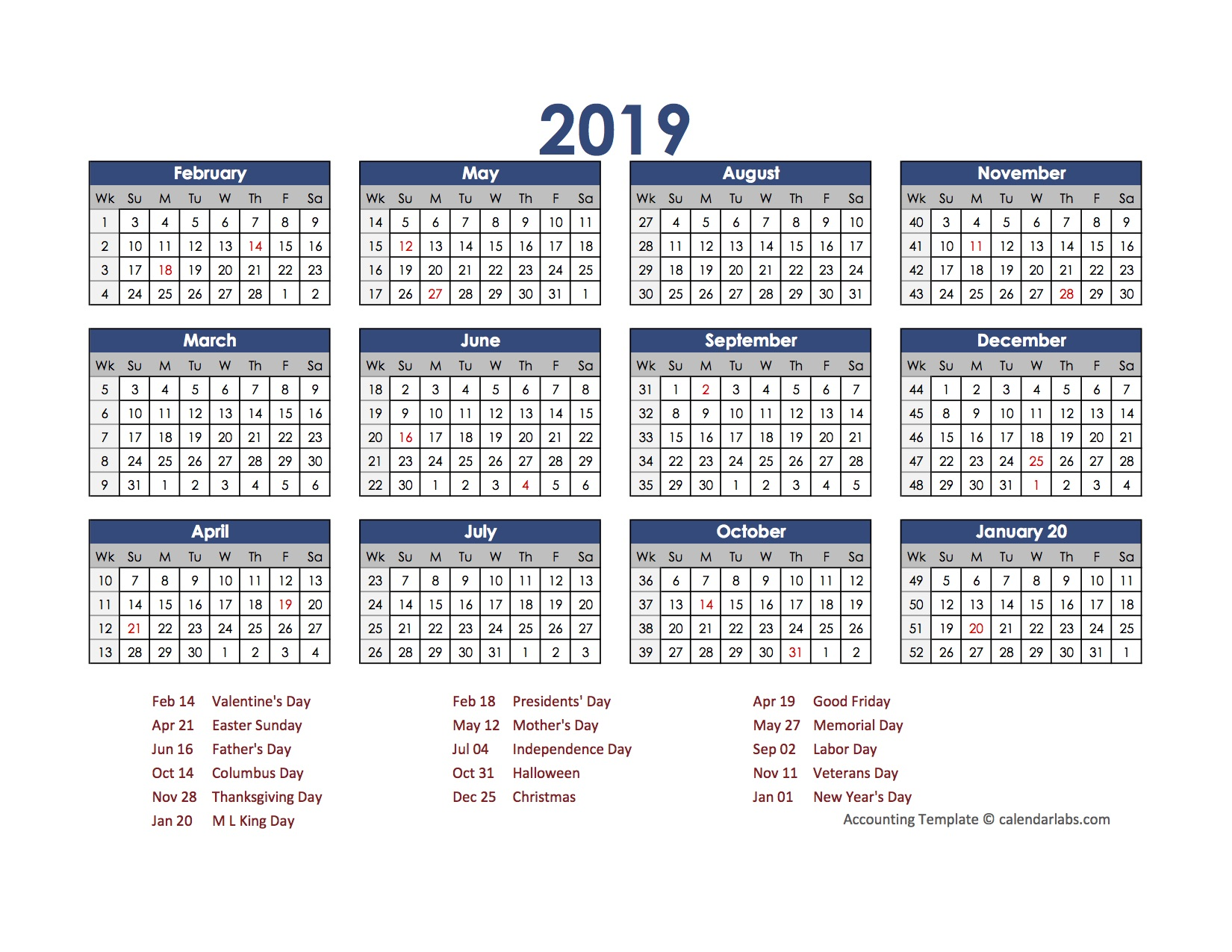 excel 2019 calendar with holidays