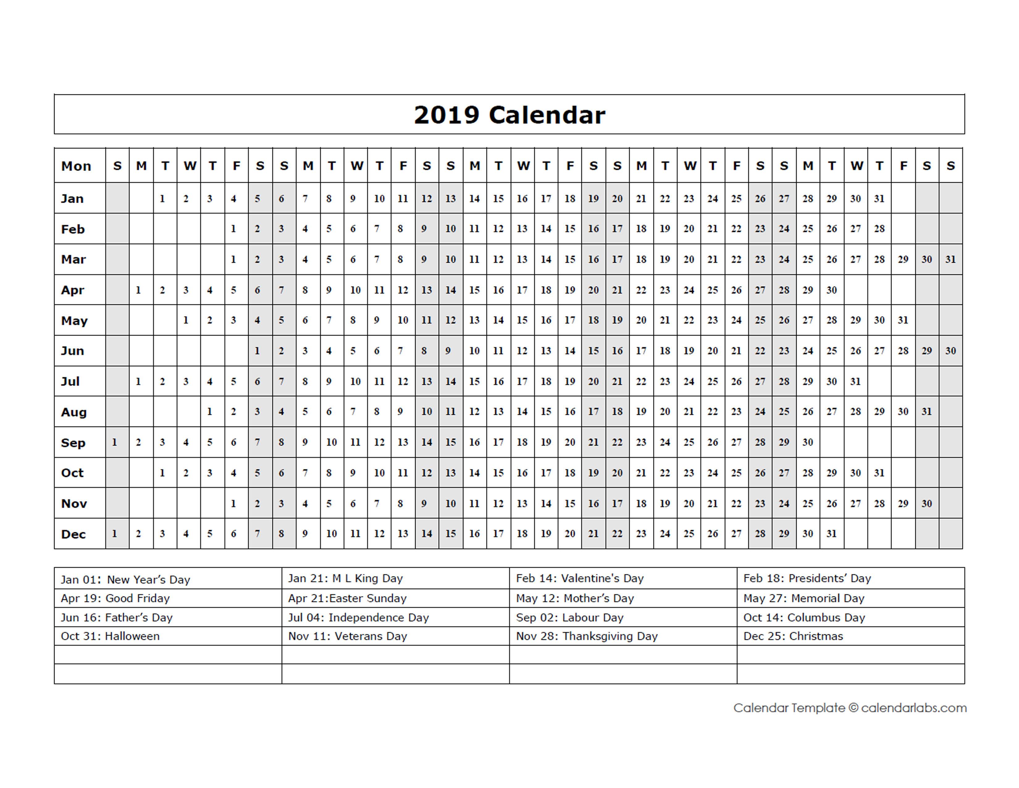 2019 year at a glance calendar printable