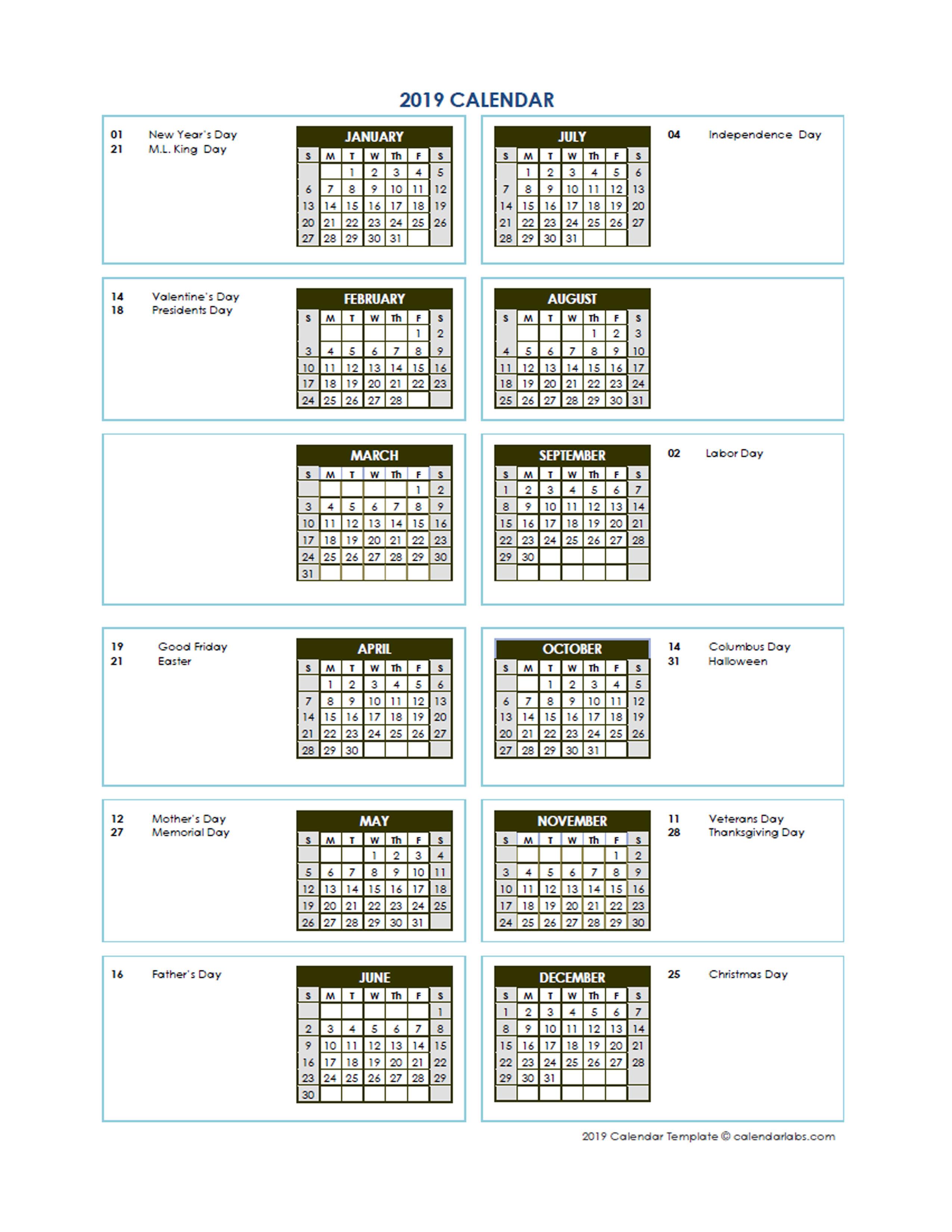 printable monthly calendar templates 2019