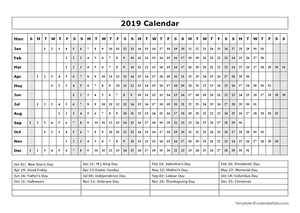 year planner template 2019