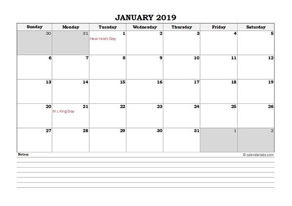 2019 weekly calendar excel