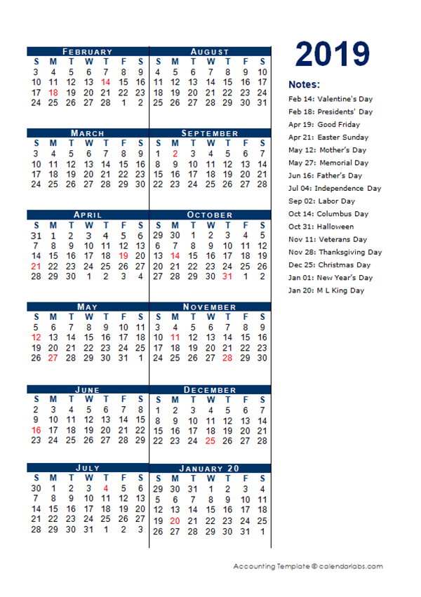 printable 4 month calendar 2019