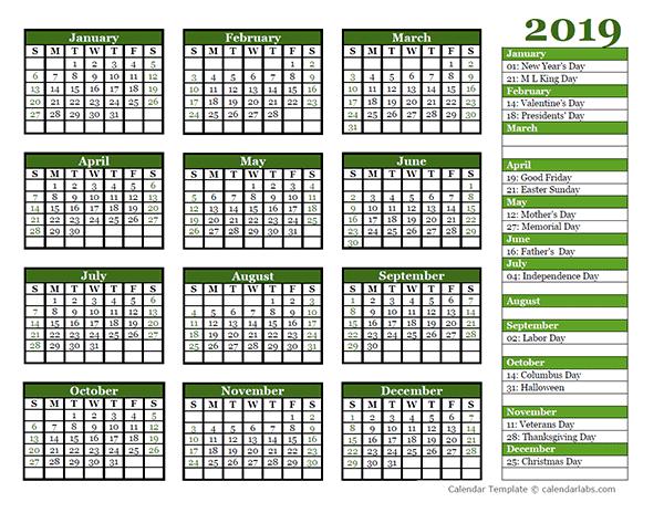 free julian calendar 2019