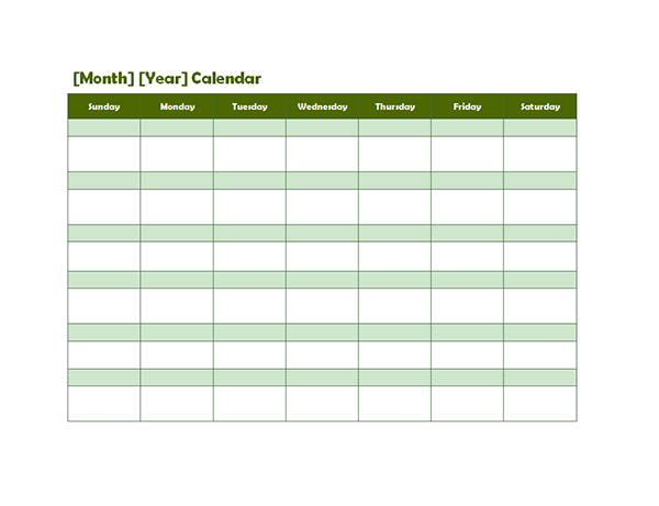 Daily Wallpaper Quote Monthly Blank Calendar In Green Shade Free Printable