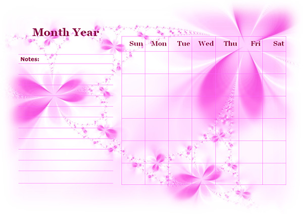 Monthly Blank Calendar in Purple Shade - Free Printable Templates - Printable Blank Calendar