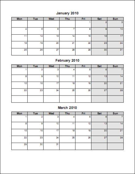 Sample quarterly calendar templates for Three month calendar template word