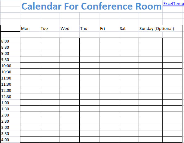 Conference Room Calendar Calendar Template 2017 - conference schedule template