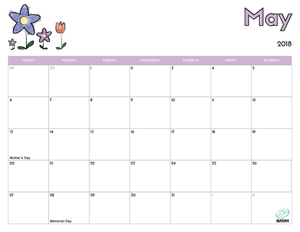Monthly Calendar May 2018 Free For Kids Calendar Template 2018 - kids calendar template